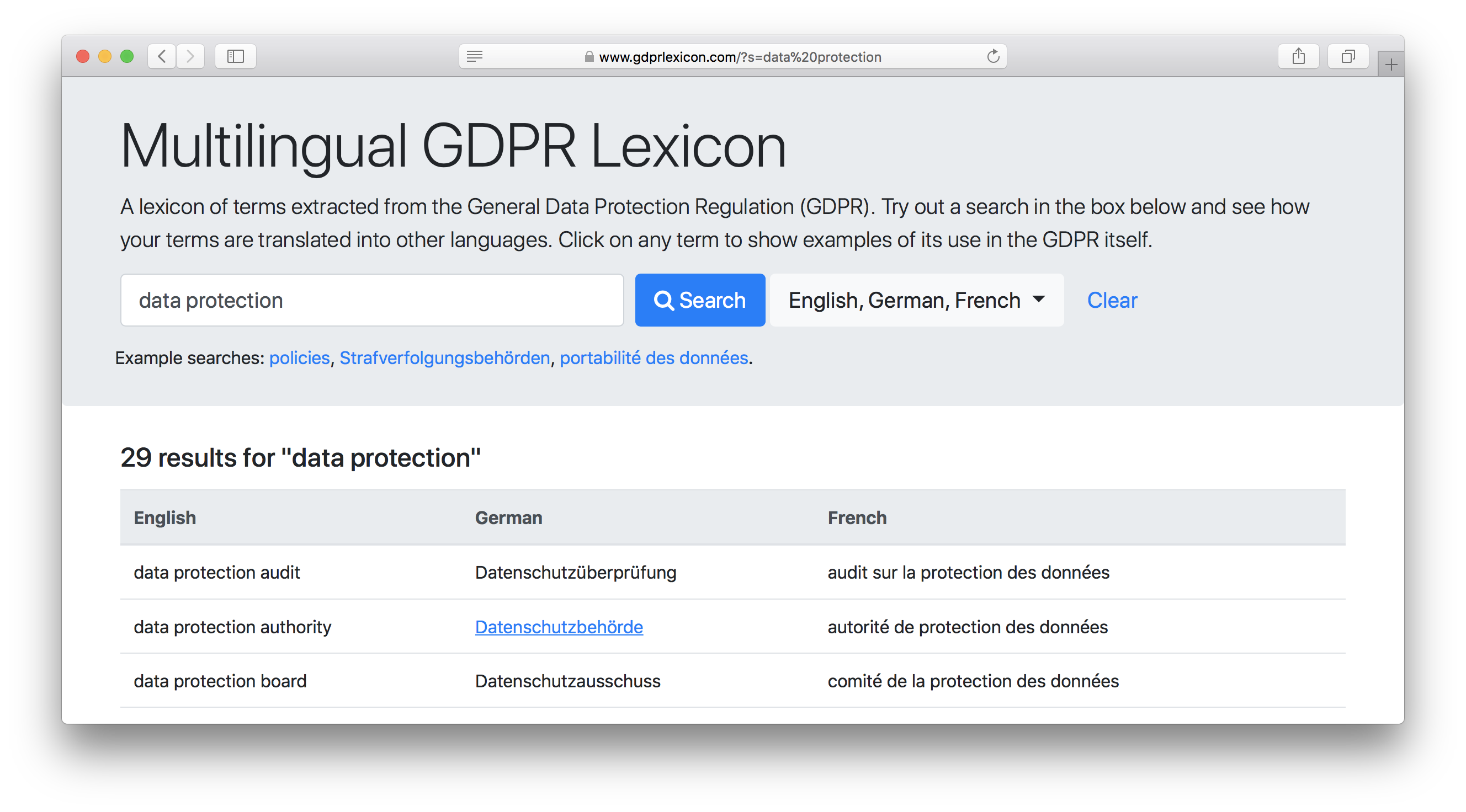 Screenshot of multilingual GDPR lexicon online demo